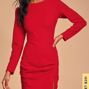 Amazement Red Long Sleeve Ruched Mini Dress